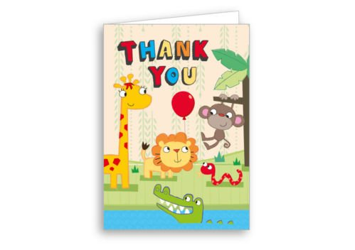 Image of Children's Invitations & Thank You Cards 12 Pack of each - Safari