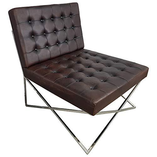 Indoortrend.com Club-Sessel Lounge-Sessel Schwarz braun Leder Barcelona Bauhaus Designer Chair