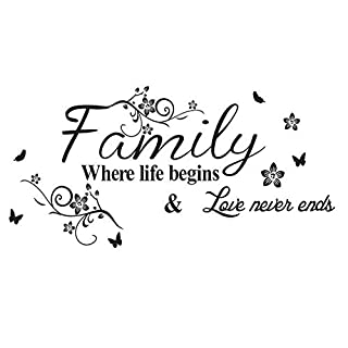 LAPOPNUT Wall Stickers 'Family ' Quote Series Black Lettering Stickers Quotes and Sayings Butterfly Flower Vinyl Wall Decal Words Removable DIY Wall Art Sticker Home Décor Decoration (Floral)