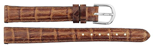 Armbanduhr lederarmband in Braun Leder - 12mm - Krokodilmuster - Schnalle in Silber Edelstahl - B12BroAli17S