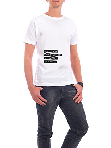 "Design T-Shirt Männer Continental Cotton ""A Smile"" - stylisches Shirt Typografie von artboxONE Edition Weiß"