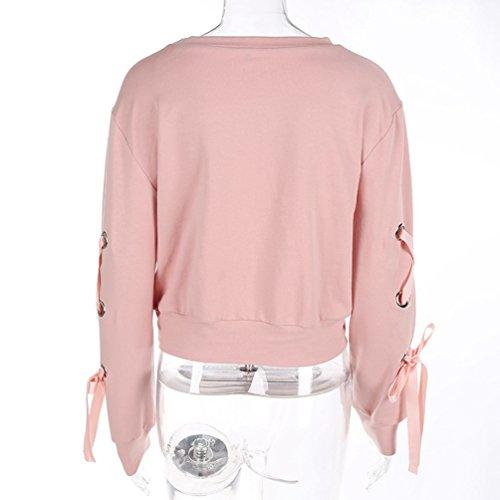 Moorui Donna Manica Lunga Felpe Lace Up Crop Maglietta T-Shirt Camicia Hoodies Tops Pink