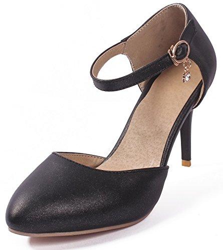 AgeeMi Shoes Donna Luccichio Puro Scarpe A Punta Fibbia Ballet-Flats Nero