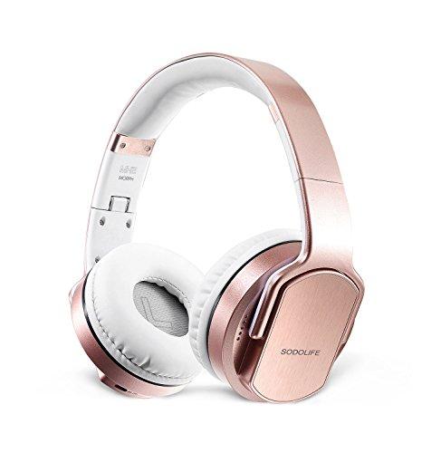 2 in 1 Kabellose Kopfhörer & Lautsprecher, Sodolife Bluetooth Kopfhörer Over Ear Headset Wireless Ohrpolster Base Hörer Kompatibel mit Geräuschunterdrückung SD Card Slot und Radio (Gold)