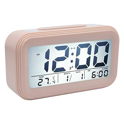 COOJA Reloj Despertador Digital Pilas, Alarma Despertador con Luz Snooze Numeros Grandes Temperatura, Despertadores para Niños Despertador Electronico de Viaje Reloj Digital Casa Mesilla -Rosa