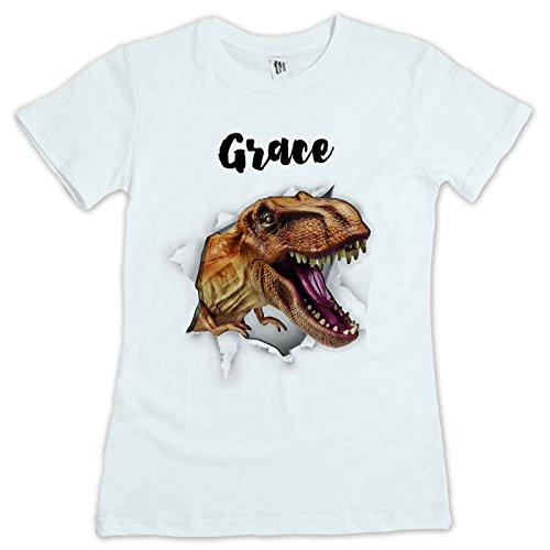 T-Rex Dinosaur Kids T Shirt Personalised With Your Childs Name. Avalable In Sizes 2 to 12 yrs