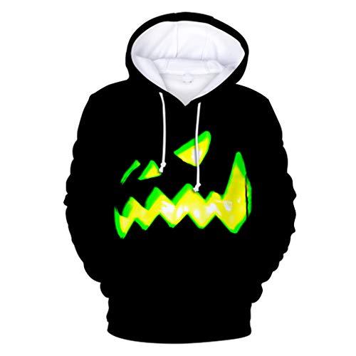 Feinny Herren Tops T-Shirt Jacke/Herrenmode Lässig Halloween Element 3D Print Party Langarm Cap mit Pullover Pullover/Schwarz/S-4XL