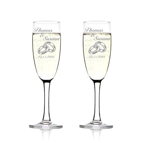 polar-effekt 2er Set Sektgläser Personalisiert mit Gravur - Hochzeitsgeschenk für Brautpaare - Namen und Datum - Geschenkidee zur Hochzeit - Hochzeitsgläser für Paare - zwei Ringe