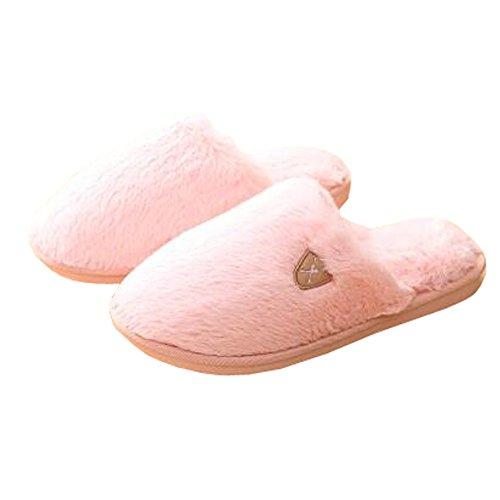 Womens Winter Warm & Gemütlich Indoor Schuhe Haus Hausschuhe, Baby Pink