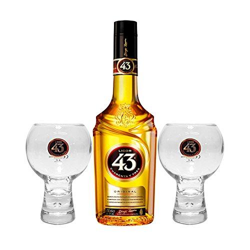 Licor 43 Cuarenta y Tres Set - Licor Cuarenta y Tres 0,7l 700ml (31% Vol) + 2x Gläser -[Enthält Sulfite]