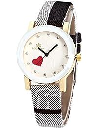 Montre Femmes Analog Simple Affaires Amour Cœur Cuir Bande Montre-Bracelet  de Quartz, 012 a9ee26f8aef