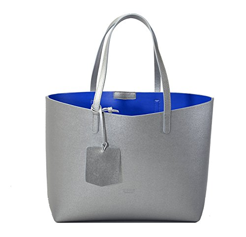 REBELLE FTC Monica - Borsa in pelle made in Italy argento / blu