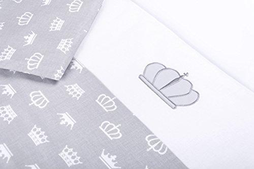 Amilian® Baby Bettwäsche Design: Krone Grau, 80x80 cm + 35x40 cm (2 tlg.)