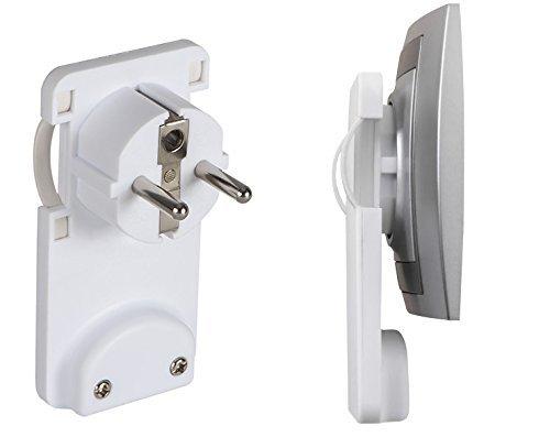 Kanlux Plano 2P + pe-w Schutzkontakt Netzstecker flach weiß zur Selbstmontage, Flachstecker, Winkelstecker