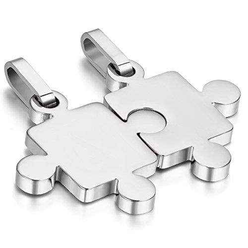 Cupimatch 2pcs His & Hers plata acero inoxidable Puzzle Juego colgante par Collar Regalo De Navidad San Valentín para hombres mujeres con cadena de 45cm 54cm