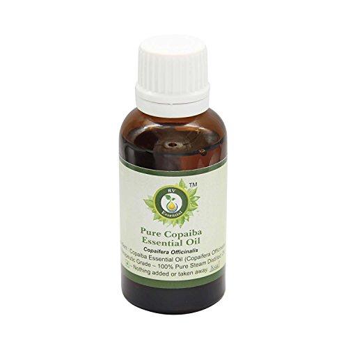 R V Essential Reines Copaiba Ätherische Öl 30ml (1.01 Unzen) - Copaifera officinalis (100% reiner und natürlicher Dampf destilliert) Pure Copaiba Essential Oil -