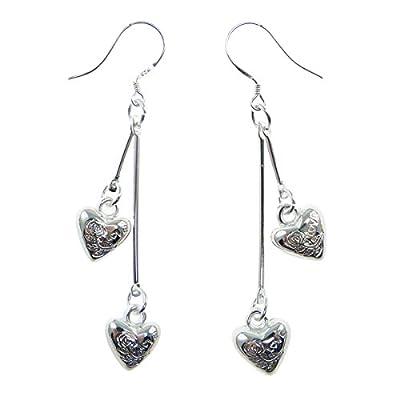 Boucles d'oreilles femme pendantes 2 coeur coeurs argentés clair