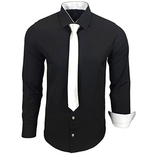 Rusty Neal R-44-KR Herren Kontrast Hemd Business Hemden mit Krawatte Hochzeit Freizeit Fit, Größe:L, Farbe:Schwarz-Weiß
