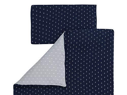 KraftKids Bettwäsche-Set Musselin dunkelblau Anker Musselin grau Anker aus Kopfkissen 40 x 60 cm und Bettdecke 135 x 100 cm, Bettbezug aus Baumwolle, handgearbeitete Bettwäsche gefertigt in der EU