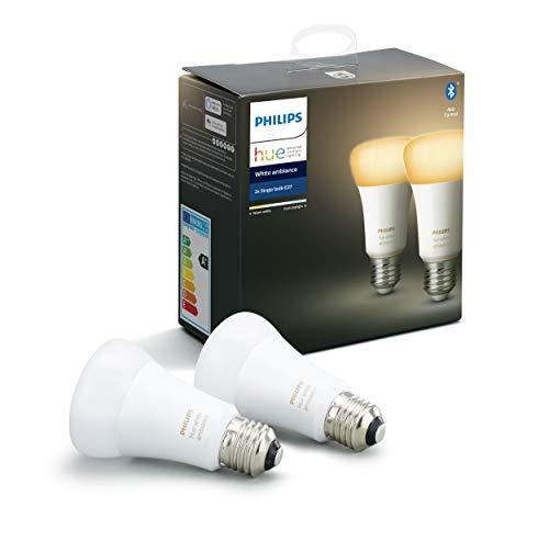 Philips Lighting Hue White Ambiance Lampadine LED Connesse, da Luce Bianca Calda a Fredda, Attacco E27, 8.5 W = 60 W, 2 Pezzi, Versione 2019