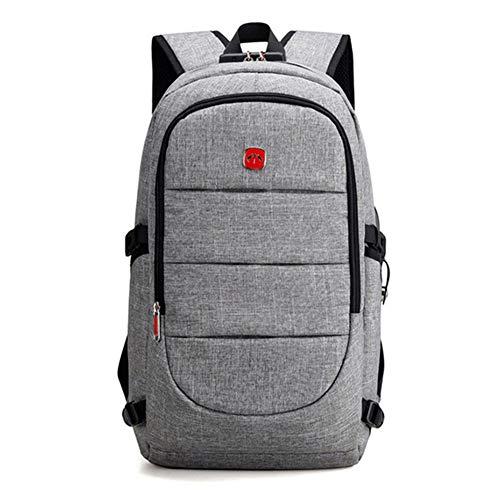 J.SPG Externer USB-Ladungsrückpack Männer Anti Theft Lock Laptop-Tasche große Schultüten Male Travel Rucksäcke mit Kopfhörer-Plug,Gray