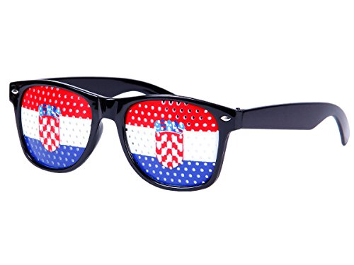 Alsino WM Lochbrille Pinehole Fanbrille Fussball Brille Länderbrille Gitterbrille Rasterbrille, wählen:V-1161 Kroatien