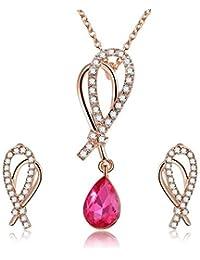 0d251b83b93e Zgsjbmh Pendientes Collar Conjunto Collar de aretes de Forma de Gota de  Agua Femenino Conjunto de