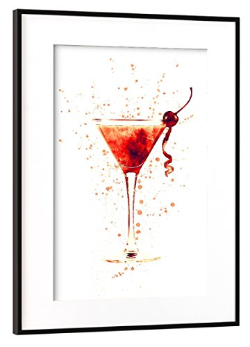 artboxONE Poster mit Rahmen Schwarz (Metallic) 45x30 cm Cocktail Glass Watercolor Red von Michael Tompsett Manhattan Drink-glas
