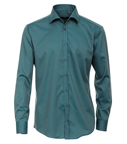 Venti Hemd Dunkelpetrol Uni Twill Langarm Slim Fit Tailliert Kentkragen 100% Feinste Baumwolle Popeline Bügelfrei 39 (Shirt Baumwolle Twill 100%)