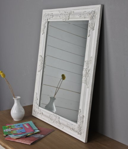 Espejo de pared Oro Blanco Plata Marco de madera, madera, Weiß, 62 x 52cm