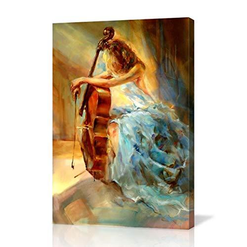 Hianiquaime® violoncello ragazza astratto olio dipinto su tela arte moderno parete quadro decorativo per soggiorno cameretta camera casa decorazioni 40x60 cm
