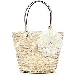 Damen Handtaschen FORH Vintage Tote Schultertasche Frauen Fliege Crossbody Taschen Einfache Weave Reisen Strand Stroh Bag (Beige)