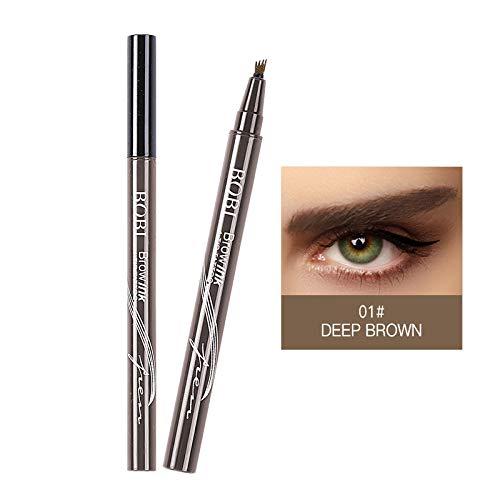 Lamavido - Bolígrafo para cejas de tatuaje, tinta de gel, resistente al agua, con cuatro puntas, 3 colores, gel para cejas de larga duración y crema de tinte para maquillaje de ojos de larga duración