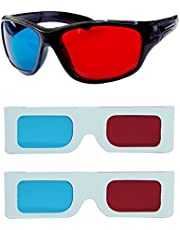 Hrinkar Original Anaglyph 3D Glasses Red and Cyan 1 Plastic + 2 Paper Offer - 3D Glass for Mobile Phone, Computer, Laptop, TV, Projector and Magazines