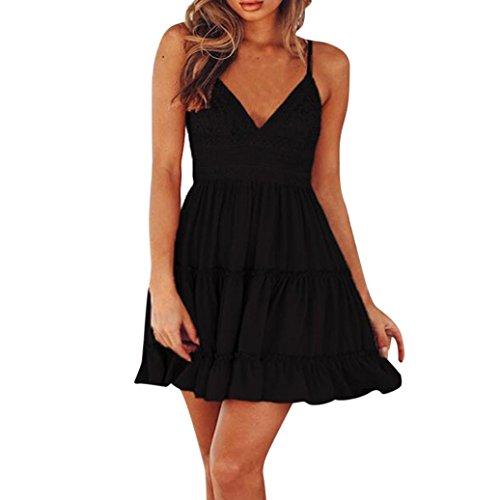 toamen Mini Kleid Frauen, Strand-Kleid Abend Kleid Rückenfrei Couture-Spitze Schleife Schleuder sexy