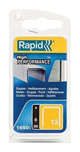 Rapid, 40109519, Agrafes en fil fin N°13, Longueur 6mm, 1650 pièces, Pour le textile et la décoration, Fil galvanisé, Haute performance
