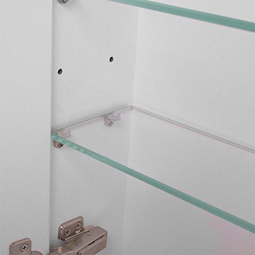 Badspiegelschrank beleuchtet BF01W90, 3-türig, 90x65x15cm, Weiss, inkl. Leuchtmittel - 5