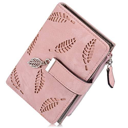 Liujiaba Weibliche Portemonnaie, Art und Weise PU Leder Hohle Blatt Kleine Geldbeutel Große Kapazität Wallets (Pink)