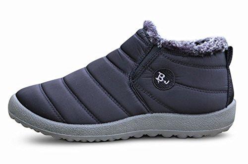 Minetom Uomo Donna Stivali Invernali Scarpe Allineato Pelliccia Caloroso Caviglia Scarpe Neve Inverno Piatto Stivaletti Sportive Boots BJ nero