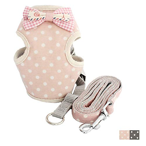 Youthlikewater Cute Dot Pattern Vest Small Dog Cat Halter Harness Lead  Breathable Mesh Cloth Chest Strap for Dogs 6044032 Pet Puppy Supplies,Pink,S -