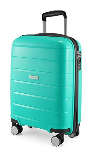 HAUPTSTADTKOFFER - PRNZLBRG - Bagaglio a mano, trolley cabin size, valigia rigida leggera, TSA, 4 ruote, 55 cm, 36 L, Turchese
