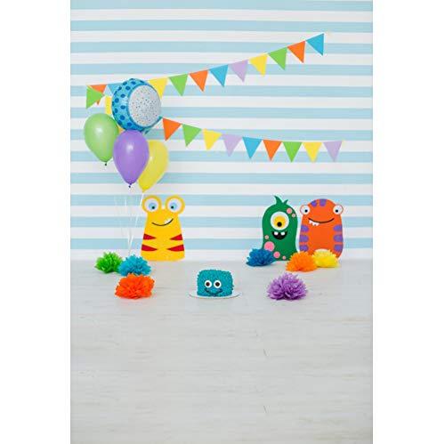 yl Foto Hintergrund Neugeborenes Jungen Geburtstag Dekor Flaggen Ballons Blaue gestreifte Wand Fotografie Hintergrund für Photo Booth Party Kinder Fotostudio Requisiten ()