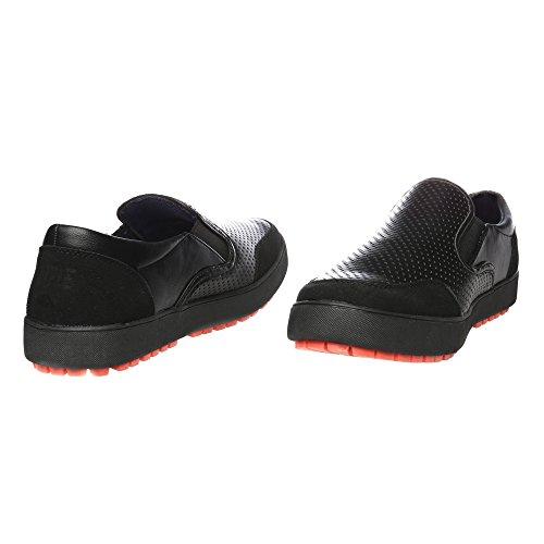 RIFLE Sneakers da uomo, basse senza lacci - Mod. 162-M-388-458 Nero - Rosso