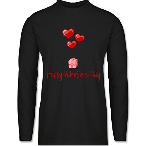 Shirtracer Valentinstag - Happy Valentine's Day Geschenk Herz Luftballon - Herren Langarmshirt Schwarz
