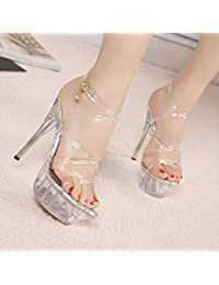 Sandalias transparentes de tacón muy alto para mujer - Zapatos con hebilla cruzada transparente Modelo 4cm