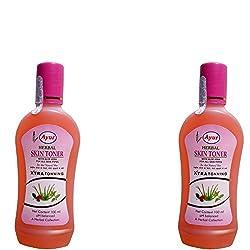 Ayur Herbals 2 Bottles of 100ml Each : Ayur Herbal Skin Toner 100ml (3. 3 Oz) pH Balanced - Aloe Vera For All Skin Types