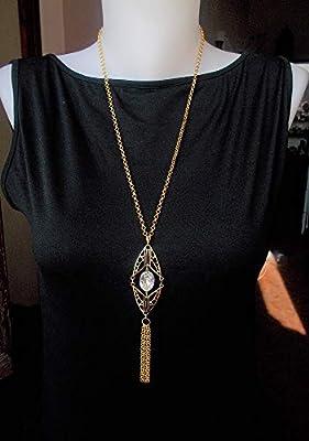 Pendentif Art Déco cristal ovale, bijoux années 30