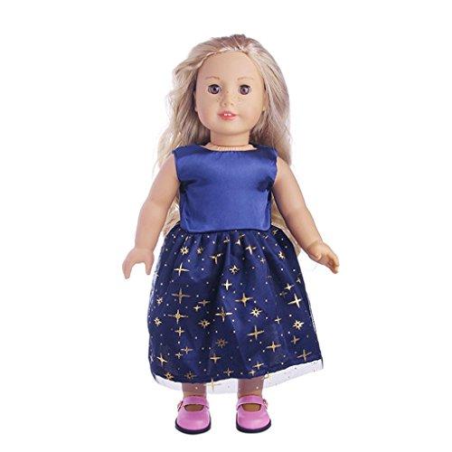 Lernspielzeug Spielzeug für Mädchen DIY Dress Up Rock ärmellose Kleine Puppe Cosplay JYJMSchöne Prinzessin verkleiden sich Kostüm für 18 Zoll unserer Generation American Girl DollPolka Dot Kleid (Größe: passend für 18 Zoll Puppen, C) (Junioren Dot)