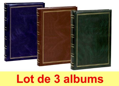 Lot de 3 albums photos Erica Marbre à pochettes 11.5x15 pour 300 photos - Vert, Marron et Bleu