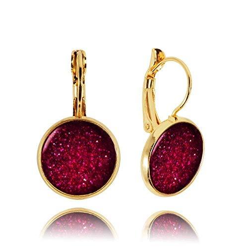 Glänzende Dunkelrote Ohrringe Geschenk für Sie für Neujahrs